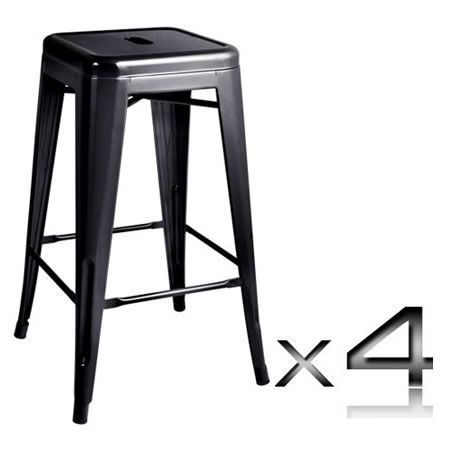 Set of 4 Replica Tolix Kitchen Bar Stool 66cm - Black