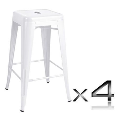 Set of 4 Replica Tolix Kitchen Bar Stool 66cm - White