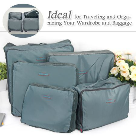 e950ce161f87 5pcs Packing Cube Pouch Suitcase Clothes Storage Bags Travel Luggage  Organizer - Grey