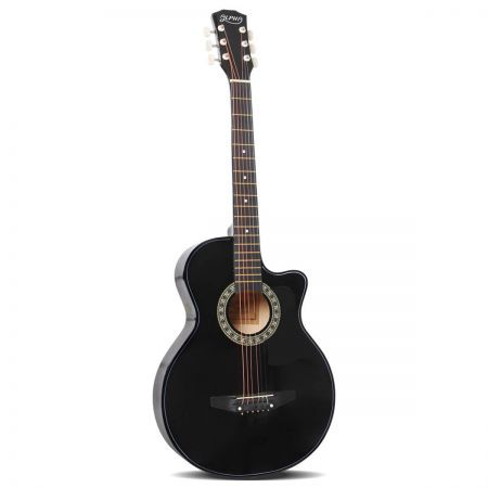 38 Inch Wooden Acoustic Guitar - Black
