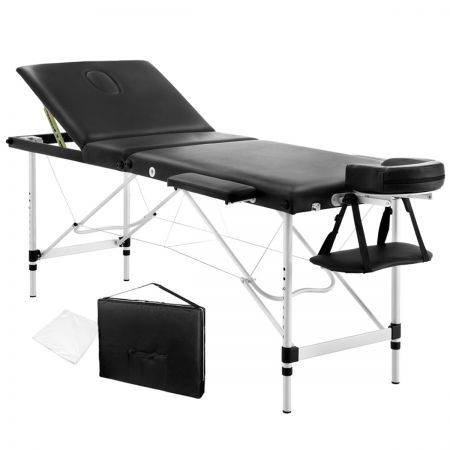 Portable Aluminium 3 Fold Massage Table Chair Bed 60cm - Black