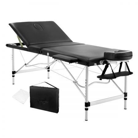 Portable Aluminium 3 Fold Massage Table Chair Bed 75cm - Black