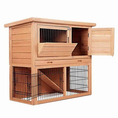 Rabbit Hutch Chicken Coop Cage Guinea Pig Ferret House with 2 Storeys Run