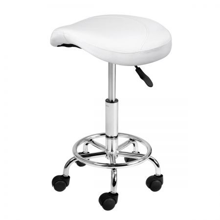 Saddle PU Swivel Salon Stool - White