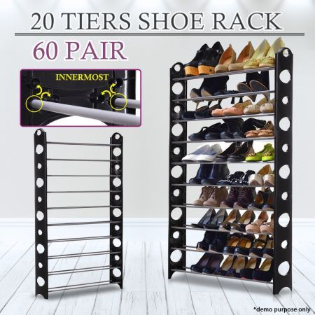Black  Pair Stackable Shoe Storage Rack
