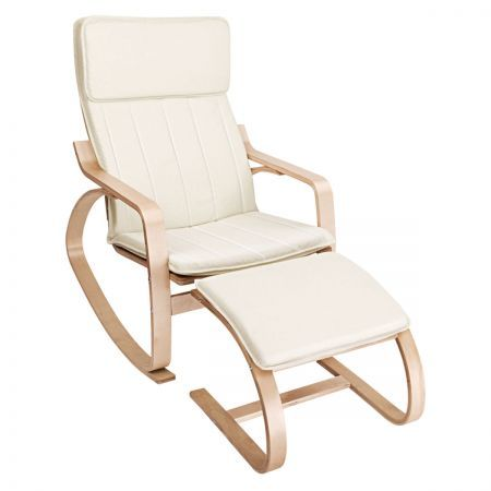 Bentwood Fabric Rocking Armchair with Foot Stool - Beige ...