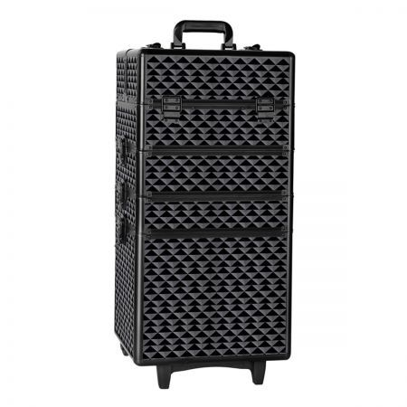 4 in 1 Portable Beauty Make up Cosmetic Trolley Case - Diamond Black