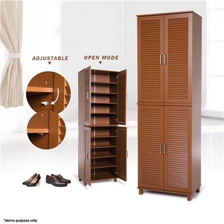 Brown 4 Door Wooden Shoe Cabinet 32 Pairs Crazy Sales