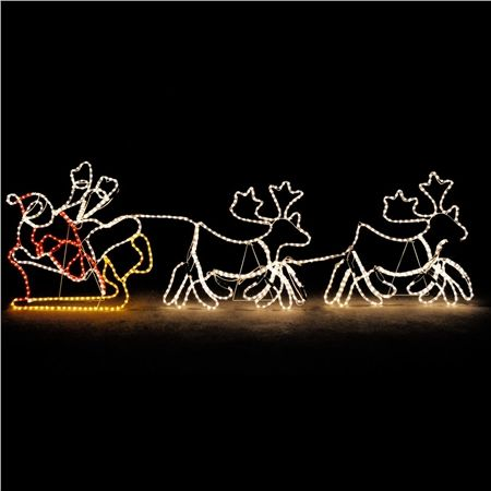 2.4m Giant Santa Sleigh with 2 Deer