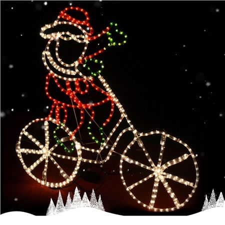 Santa Riding Bicycle Christmas Lights