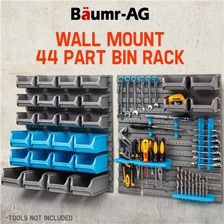 Baumr Ag Wall Mounted Tool Parts Storage Bin Rack Crazy