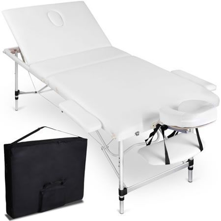 Portable Aluminium 3 Fold Massage Table Chair Bed 75cm - White