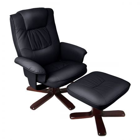 PU Leather Lounge Recliner Chair Ottoman - Black