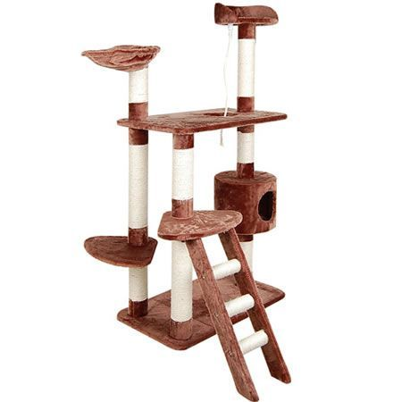 Multi Level Cat Scratching Poles Tree with Ladder - Brown