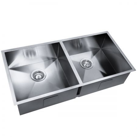 Stainless Steel Kitchen Laundry Sink with Strainer Waste 865x440mm ...