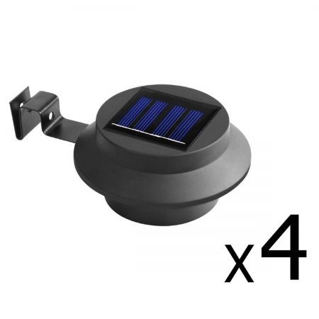 Set of 4 LED Solar Powered Fence Gutter Light - Black