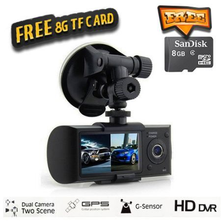 "2.7"" Vehicle Car DVR Camera Video Recorder Dash Cam G-Sensor GPS Dual Len Camera + Free 8 GB TF Card"