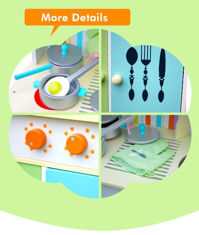 Multi colour wooden toy kitchen set reviews crazysales for Kitchen set colour