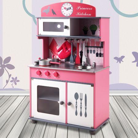 Pink wooden toy kitchen set crazy sales
