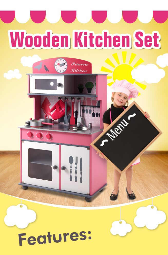 Pink wooden toy kitchen set crazy sales for Kitchen set pink