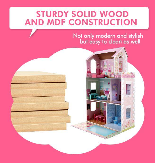 large 3 level wooden doll house toy crazy sales. Black Bedroom Furniture Sets. Home Design Ideas