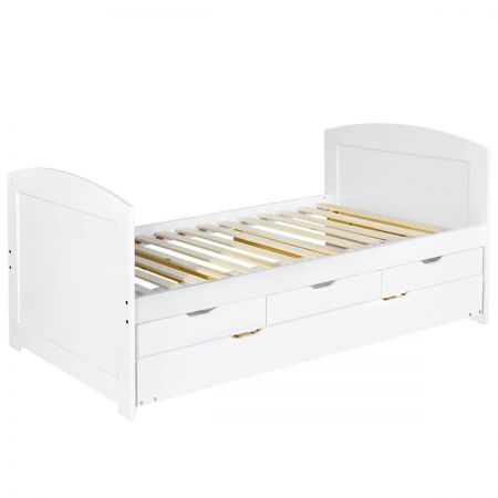Wooden Bed Frame Pine Wood With Drawers Single White