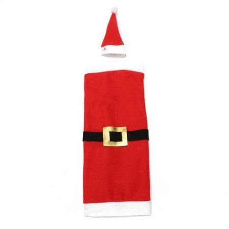 Christmas Santa Clause Clothing Hat Dress Wine Bottle Cover Decoration -belt