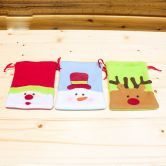 Snowman+ Moose+ Santa Claus Holiday Christmas  Handbag Candy Gift Bag
