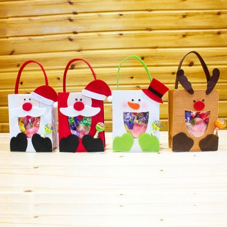 White Snowman+ Red Snowman+ Moose+ Santa Claus Holiday Christmas Handbag Candy Gift Bag