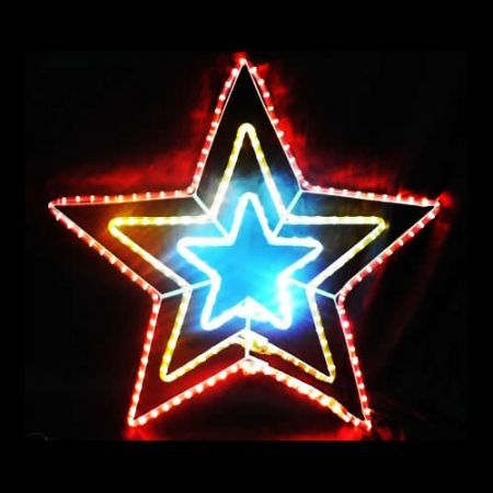 Three Colour Christmas Star Light Display with Controller - 6m