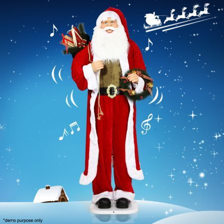 Santa claus life size animated musical figurine motion for Animated santa claus decoration