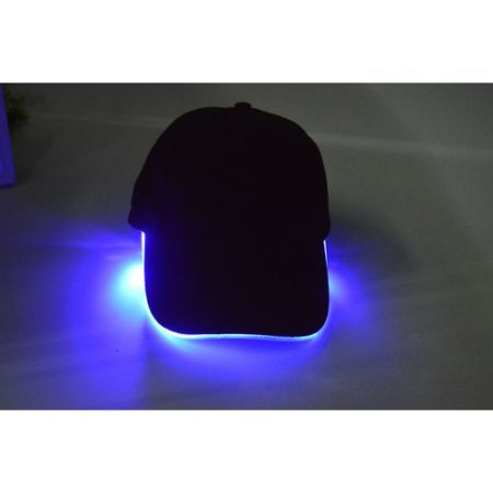 New LED Lighted Glow Club Party Baseball Hip-Hop Adjustable Black Fabric Hat Cap - Blue