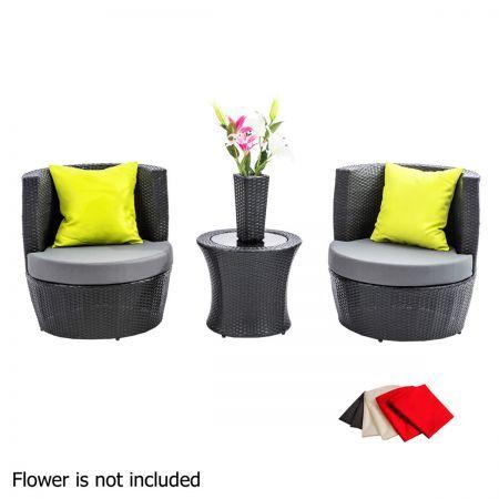 stackable 4 pcs black wicker rattan 2 seater outdoor furniture set