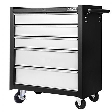 5 Drawers Roller Toolbox Cabinet - Black Grey