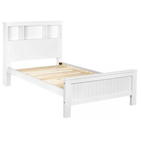 wooden bed frame king single with shelf white crazy sales. Black Bedroom Furniture Sets. Home Design Ideas