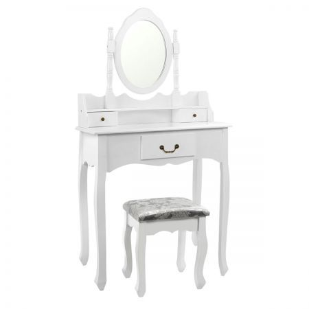 3 Drawer Dressing Table with Mirror - White