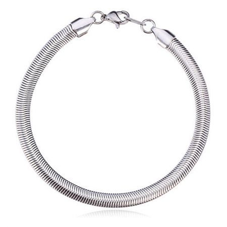 U7 New High Quality Never Fade Snake Chain Bracelet for Men Women 316L Titanium Steel 5MM,8Inches (20CM)