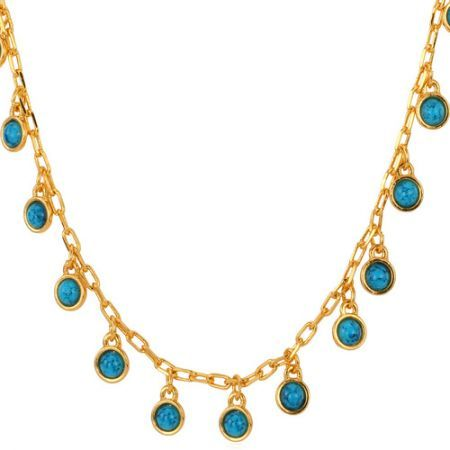 U7 New Blue Turquoise Stone Charms Choker Necklace Women Jewelry 18K Gold Plated 50CM