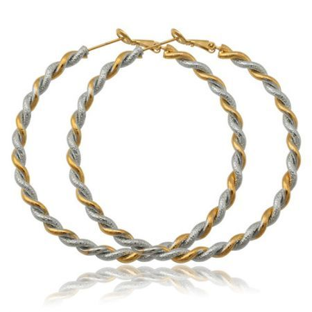 U7 Big Women s Basketball Wives Hoop Earrings 18K Gold Platinum Double  Colored Plated Jewelry  92190e1a12