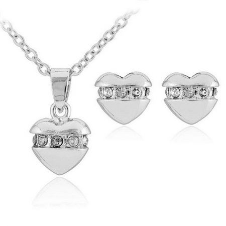 U7 Cute Hearts Pendant Stud Earrings Set Platinum Plated Rhinestone Jewellry for Girl