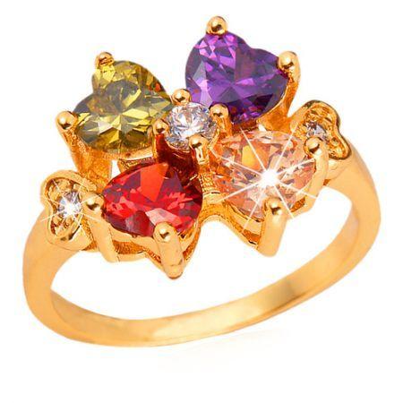 U7 Luxury AAA+ CZ Stone Zirconia Ring 18K Chunky Gold Plated Wedding Engagement Jewelry Size 6