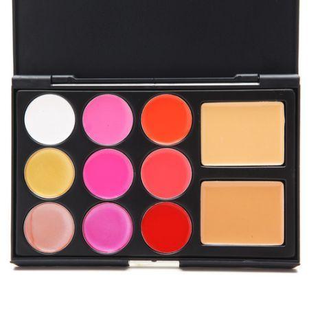 11 Colors Eyeshadow Lip Gloss Foundation Palette Kits Professional
