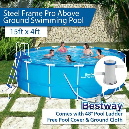 Bestway above ground swimming pool steel frame with filter for Cheap above ground pool packages
