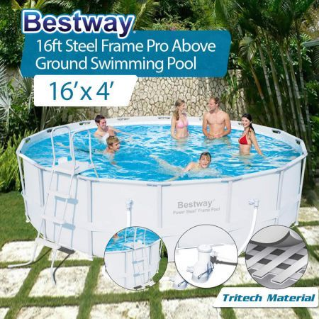 Bestway Above Ground Swimming Pool Steel Frame With Filter Pump 16ft 488cm 56266 Crazy Sales