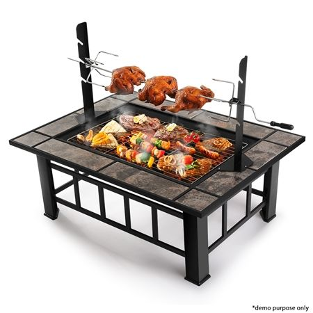 3-in-1 Multi-function BBQ Pit Table with Removable Chicken Roaster