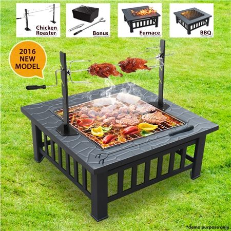 BBQ Grill Fire Pit with Removable Chicken Rotisserie