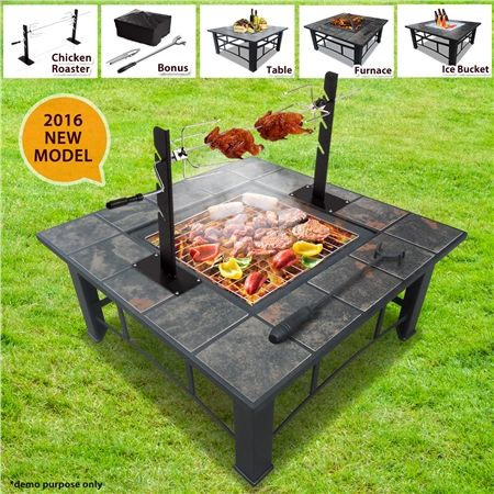 Incroyable 5 In 1 Multi Function BBQ Pit Table With Removable Chicken Roaster