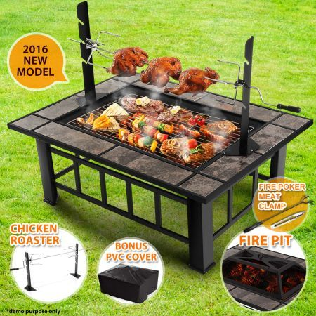 3-in-1 Extra Long Multi-Function BBQ Pit Table with Removable Chicken Roaster