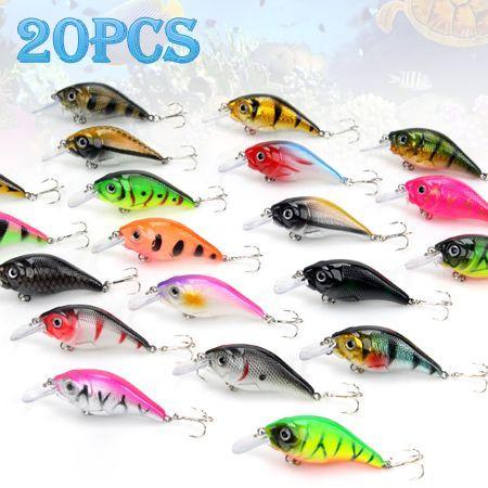 20x Crankbait Crank Baits Fishing Lures Hooks - Multicolour