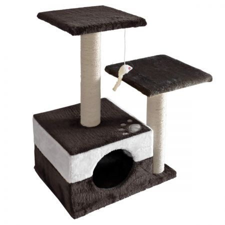 Cat Scratching Poles Post Furniture Tree 70cm - White Dark Grey